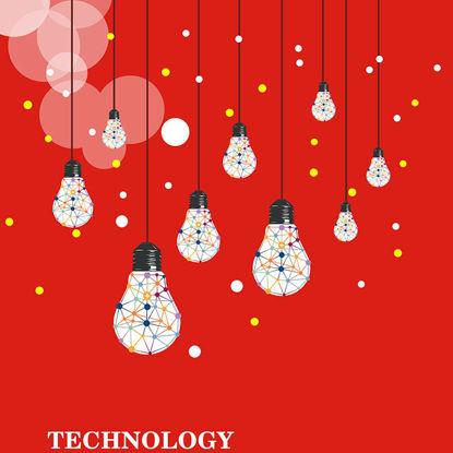 Kırmızı Arka Plan Bilim ve Teknoloji Posteri resmi