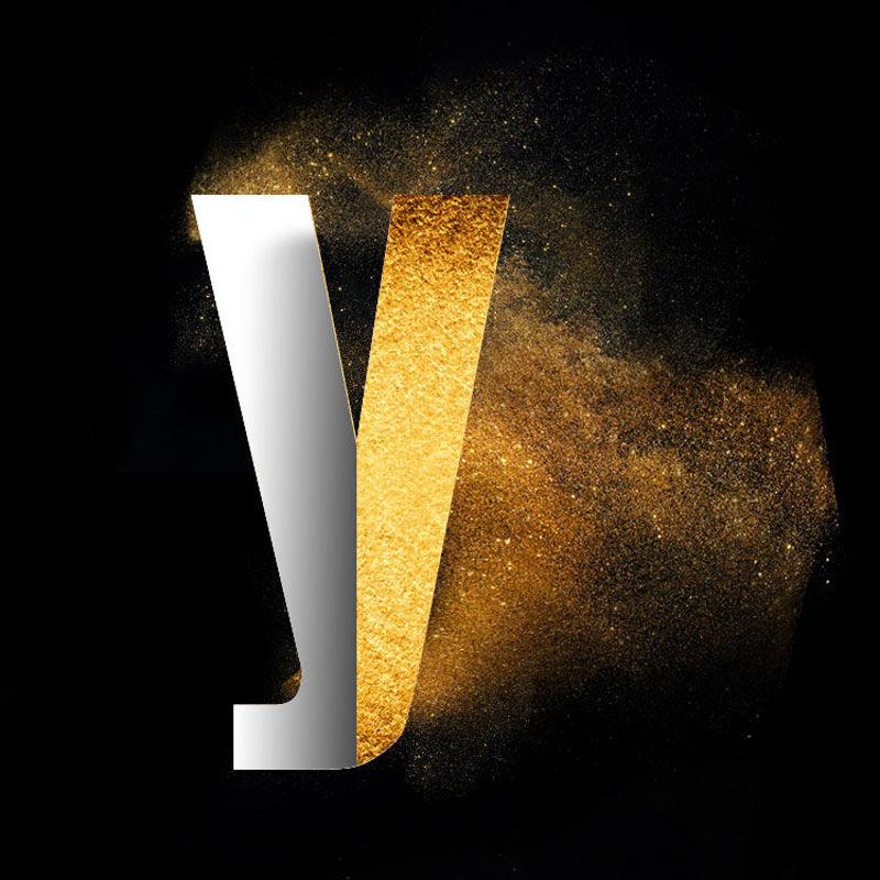 Bild von Gold Powder Dust Photoshop psd y Kleinbuchstaben Schriftart Design