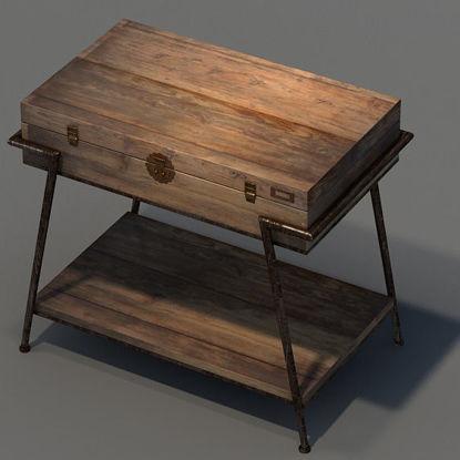 wood desk 3d model
