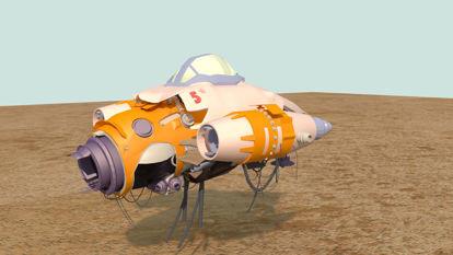 Waste spaceship airship 3d model
