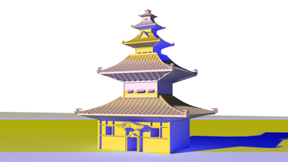 Ancient Chinese temple buildings 3d model