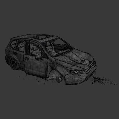 crashed car 3d model