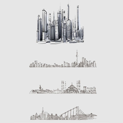 worldwide building hand draw vector