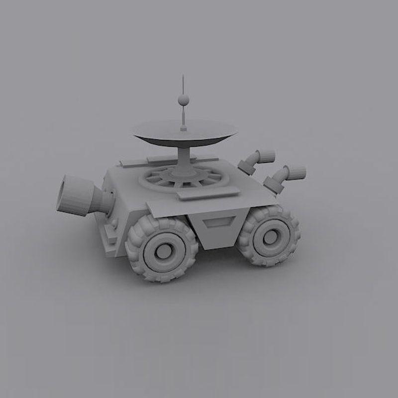 Small cartoon satellite radar tank 3d model