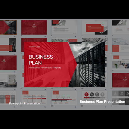 Red Business Plan PowerPoint Template