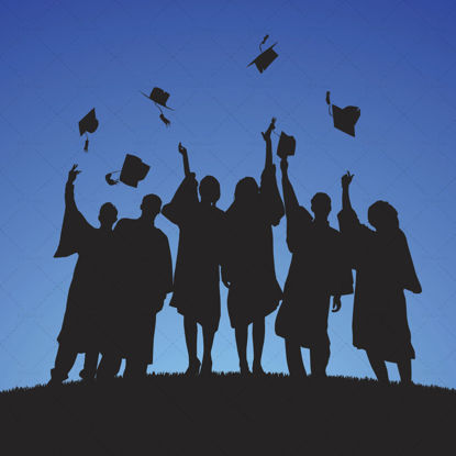 Graduation student silhouette vector