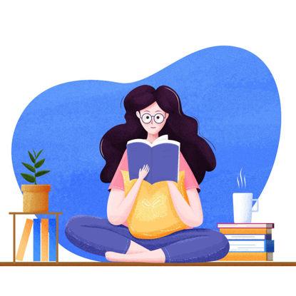 Girl reading poster illustration