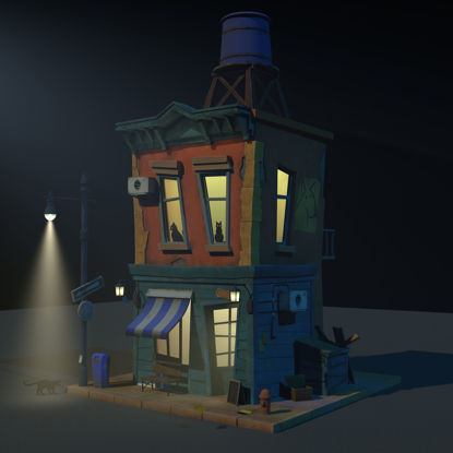 Cartoon house night hotel 3d model