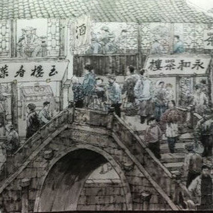Ancient Chinese Ming and Qing Street Scenery Painting 2