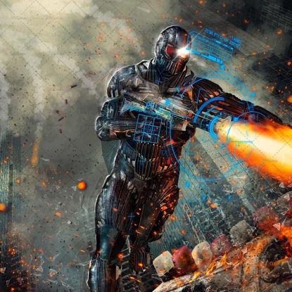 3D futuristic robot soldier illustration