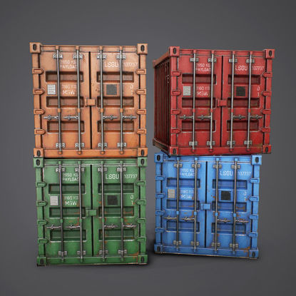 PBR Environmental Containers 3d model Pack