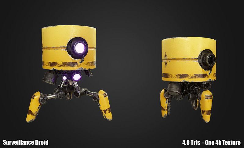 PBR Surveillance Droid 3d model Pack