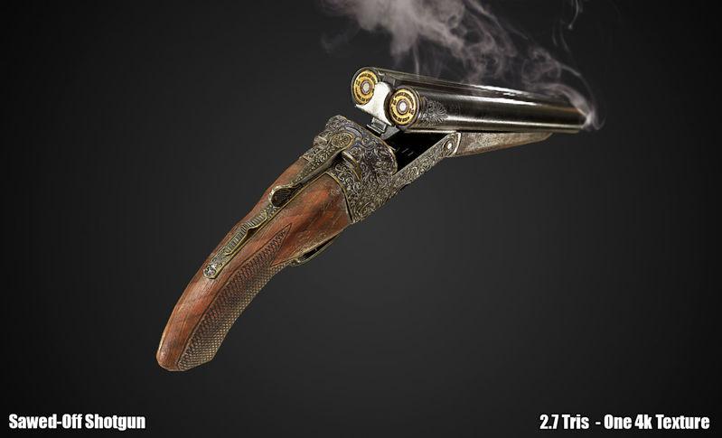 PBR Sawed Off Shotgun 3d model
