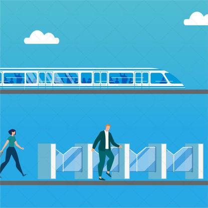Subway station entrance subway vector illustration