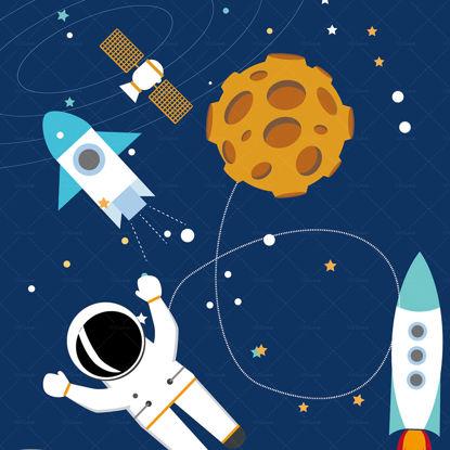 Cartoon astronaut space vector