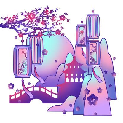 中国风庭院景色装饰插画素材