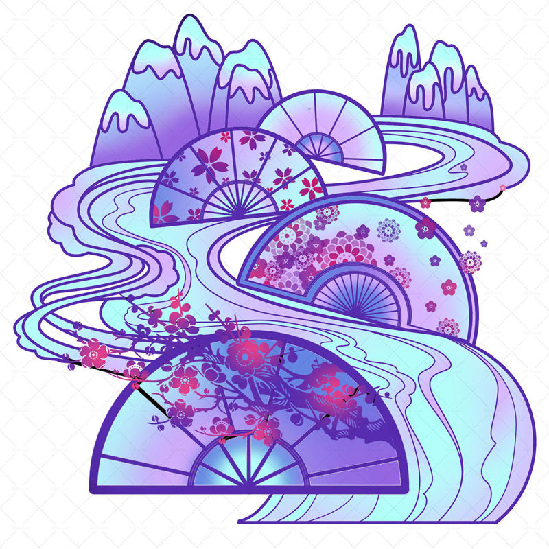Chinese style glacier decoration illustration material