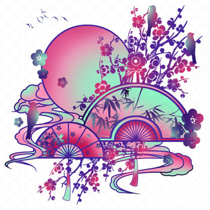Chinese style hand painted decorative illustration