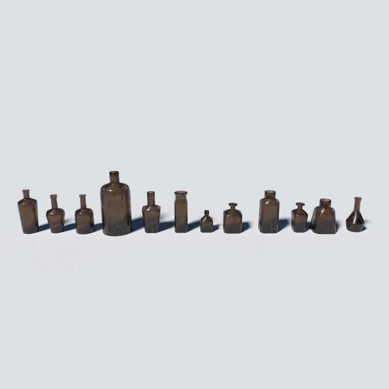 Small Bottles Brown 3d model