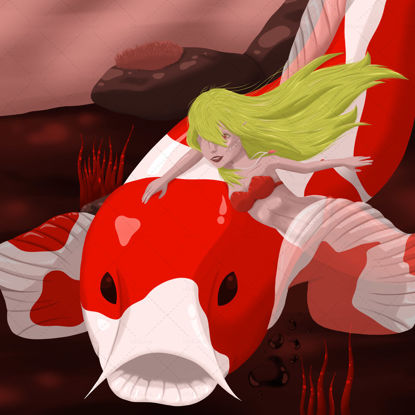 A mermaid and a koi carp under the sea