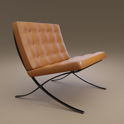 Modern Barcelona-chair inspired 3D model