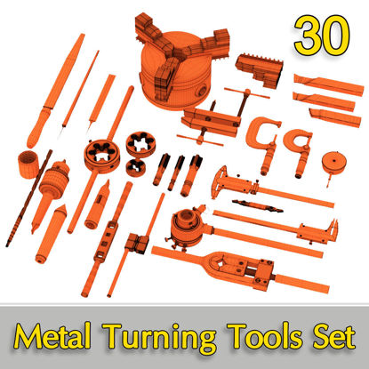 Metal Turning Tools 3d model Set 30