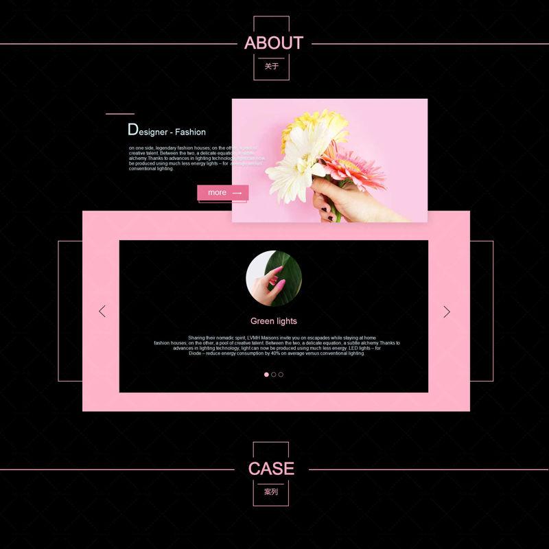 Fashion black pink web site page template