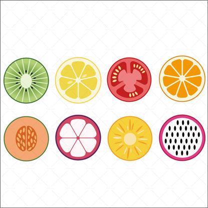 Fresh sliced fruit vector graphic