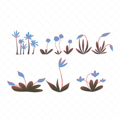 Set of blue flowers Illustration
