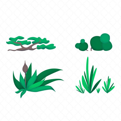 Set of green plants illustration