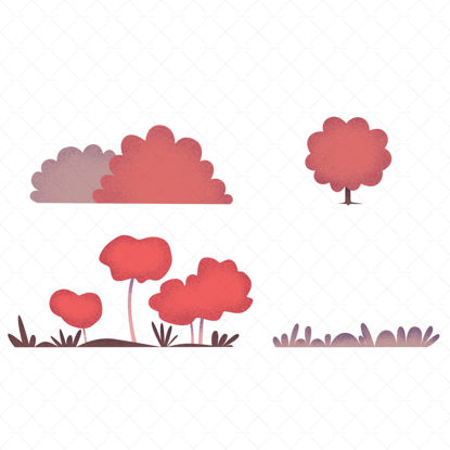 Set of red bushes illustrations