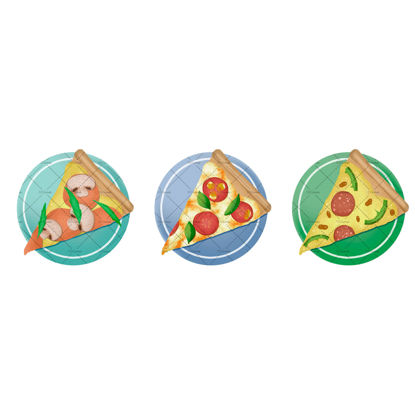 Three different slices of pizza illustration