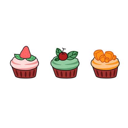 Cute fresh fruit cake vector graphics