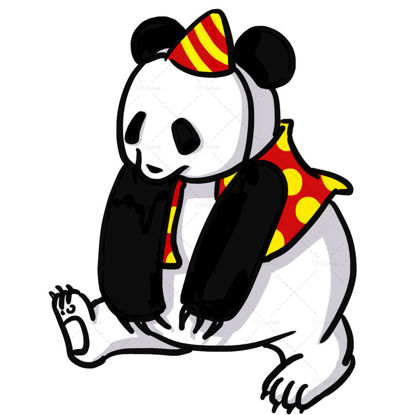 cute funny cartoon panda illustration
