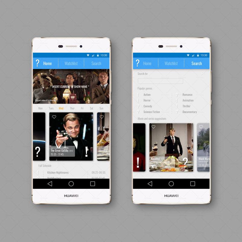 Tv schedule concept app UI UX