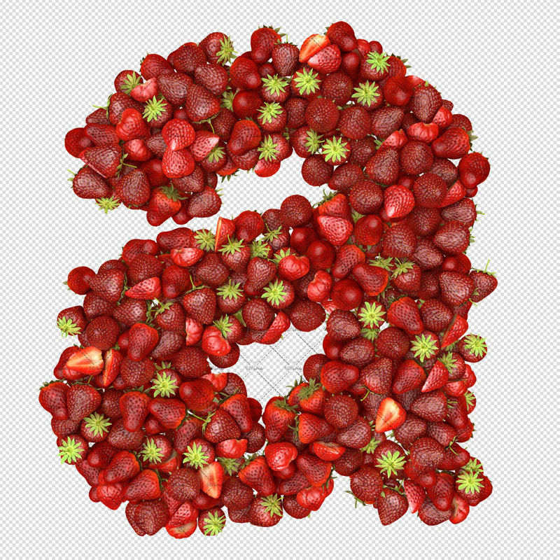 Lower case alphabets filled with fruit strawberry png