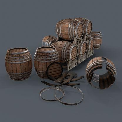Old wine barrells 3d model