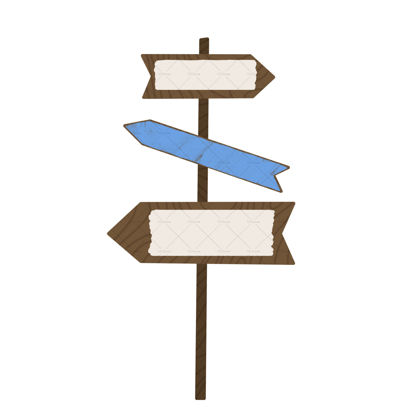 Wooden direction sign flat layered illustration