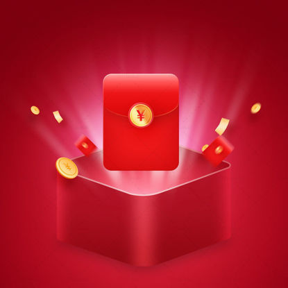 Big promotion event red envelope gift box PSD