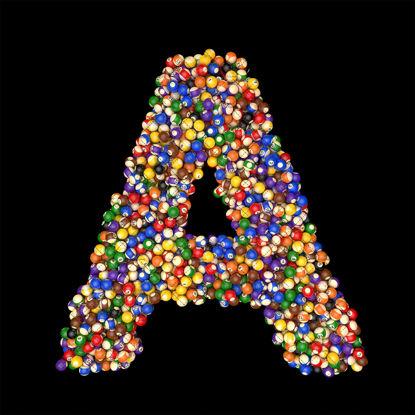 Billiards balls alphabet A
