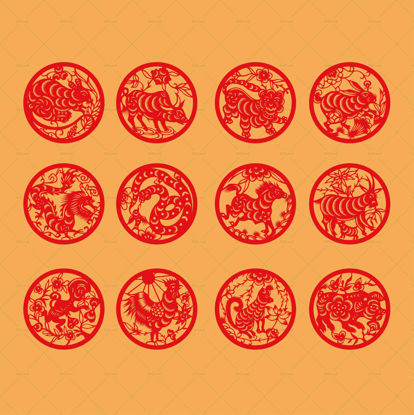 Chinese traditional zodiac paper-cut art vector elements