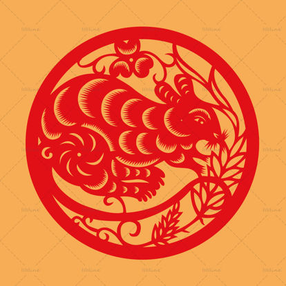 Chinese traditional zodiac paper-cut art vector element of the rat