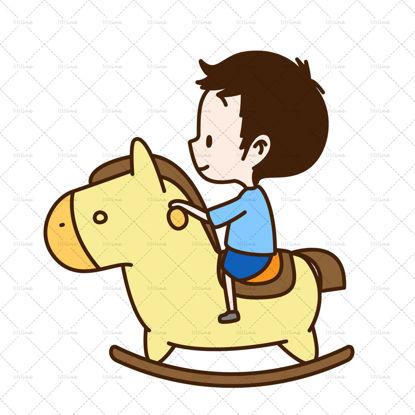 Children riding a wooden horse AI vector layered