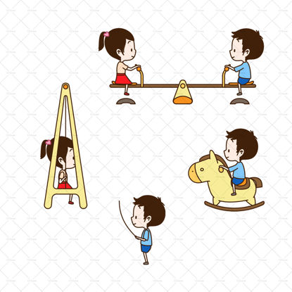 Children riding a wooden horse seesaw swinging rope skipping AI vector layered