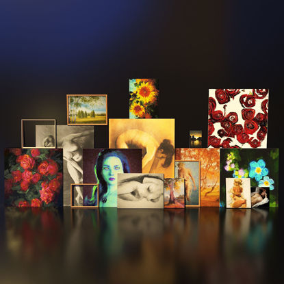 Artist Studio Paintings Set 190 01 3d model