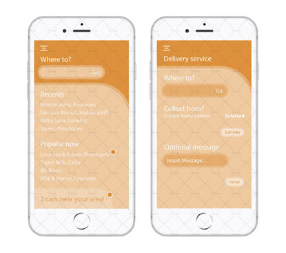 Transport app UI wireframes