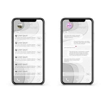 Grey messenger app UI UX Design Iphone X