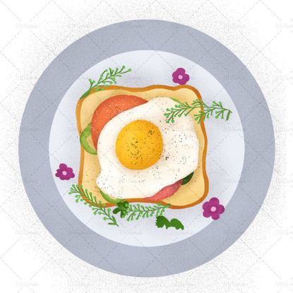 Delicious breakfast bread + fried egg illustration