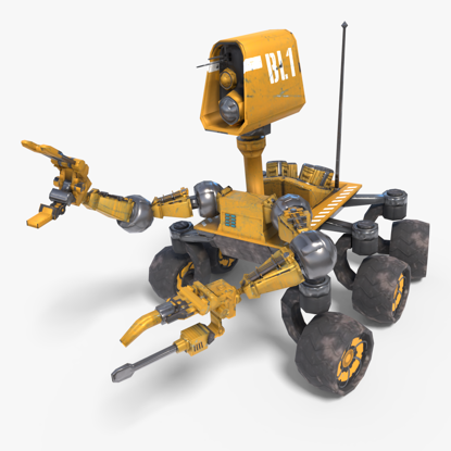 Planetary Rover Low-poly 3d model