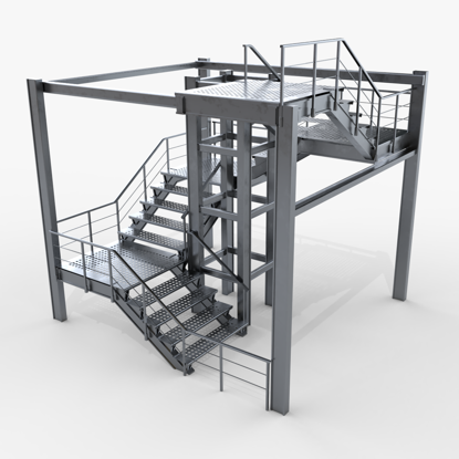 Modular Industrial Staircase 3d model